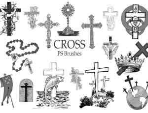 20种神圣十字架图形、基督元素Photoshop笔刷下载