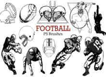 20个橄榄球、美式足球图形元素PS笔刷下载