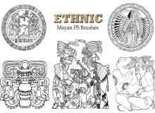 20种玛雅文化图腾、民族部落图案Photoshop笔刷下载
