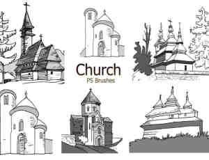 20个城堡图形PS笔刷素材下载