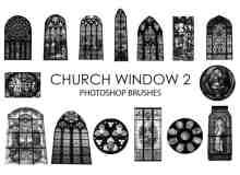 15个高质量的教堂彩色玻璃窗户Photoshop笔刷下载