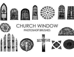 基督教堂彩色玻璃、窗户Photoshop笔刷素材下载