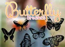 漂亮的蝴蝶Photoshop剪影笔刷