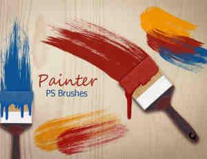 20种高清刷子痕迹、油漆毛刷、毛笔墨笔痕迹Photoshop笔刷
