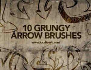 10种弯曲的涂鸦箭头效果PS笔刷免费下载