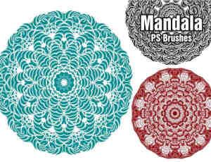 漂亮绚丽的曼荼罗花纹艺术图案Photoshop印花笔刷