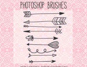 可爱涂鸦箭头、丘比特之箭Photoshop笔刷素材