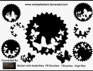 漂亮的蝴蝶剪纸花纹Photoshop笔刷素材下载