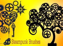 钢铁齿轮艺术花纹图案Photoshop笔刷素材下载