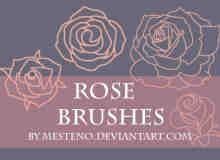 漂亮的玫瑰花线框图形Photoshop笔刷素材