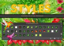 40种绿色植物PS图层样式素材下载