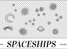 卡哇伊手绘星星、月亮、星球涂鸦PS笔刷素材下载