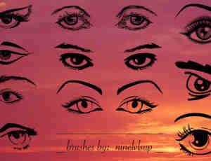 手绘式眼睛与眉毛、眼神效果Photoshop笔刷素材下载