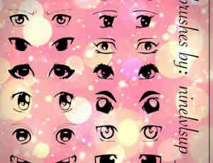 可爱日漫式卡通眼睛、眼神图形PS笔刷素材下载