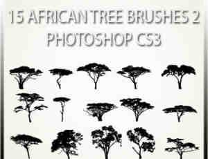 15种非洲草原树木剪影图形PS笔刷素材