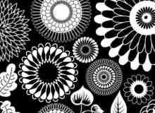 绝妙的艺术鲜花绽放、植物树叶印花图案Photoshop笔刷