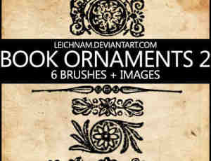 6种古典印花、花纹纹饰图案PS笔刷素材下载