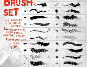45种免费的Adobe Photoshop数字绘画笔刷素材