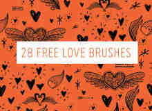 28种可爱童趣爱情图形、恋爱告白涂鸦PS照片美化笔刷