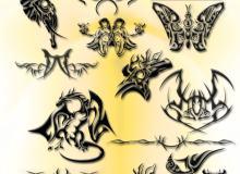 酷炫欧美时尚刺青、纹饰、纹身图案PS笔刷素材