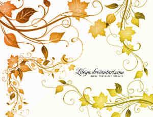 漂亮的艺术植物叶子藤蔓效果Photoshop植物印花笔刷