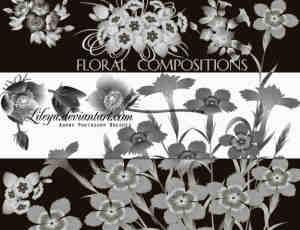 鲜花、花束图案PS笔刷下载