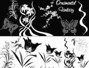 优美的鲜花图案、树枝花朵蝴蝶PS笔刷下载