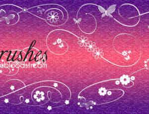 漂亮的蝴蝶、鲜花花纹图案PS装饰笔刷
