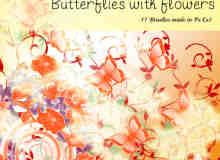 漂亮的蝴蝶与鲜花花纹图案、印花装饰PS笔刷下载