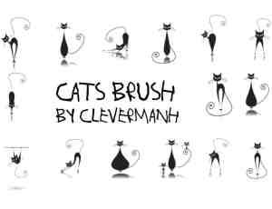 优雅的高贵的手绘猫咪卡通造型PS笔刷素材