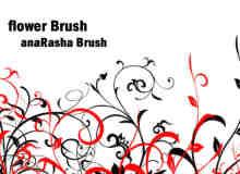漂亮优雅的手绘茎叶花纹图案PS笔刷素材