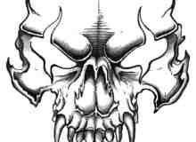 魔鬼、恶魔火焰骷髅头面具Photoshop笔刷素材
