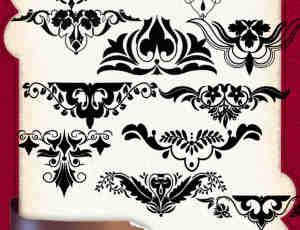 漂亮的欧式古典花纹图案PS贵族式印花笔刷