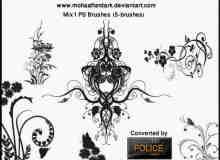 漂亮的植物艺术系花纹图案素材PS印花笔刷