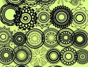漂亮的圆形对称花纹图案photoshop cs5印花笔刷