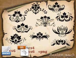 欧式优雅典范的植物花纹、印花图案PS笔刷下载