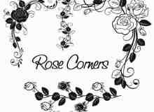 植物玫瑰花朵花纹、花圈、花环印花图案Photoshop玫瑰花笔刷