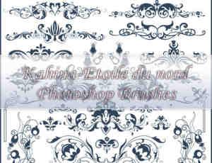 华丽的欧式贵族植物花纹图案PS印花笔刷