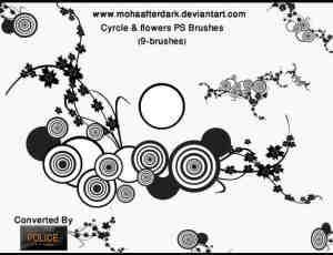 时尚艺术同心圆与花纹图案拼接PS笔刷