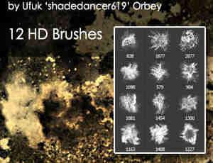 挥洒砂砾般效果、灰尘泼洒扬尘纹理Photoshop特效笔刷