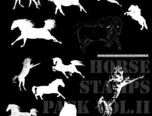 骏马、马匹剪影图形PS笔刷素材