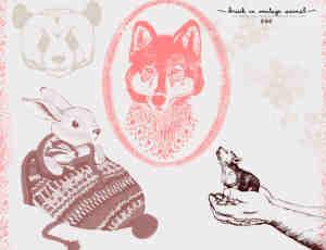 可爱卡哇伊熊猫、兔子、狼头等动物插画图形PS笔刷素材