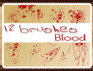12种血迹、滴血状态、流血痕迹Photoshop血液笔刷