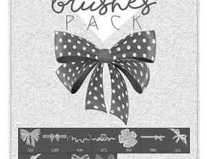 漂亮的蝴蝶结、礼品盒彩带PS装饰品笔刷