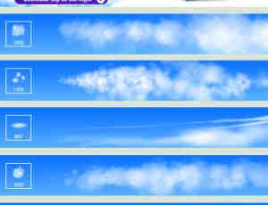 5种漂亮的梦幻云彩、天空白云效果PS笔刷素材下载+TPL工具预设
