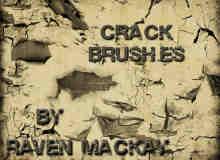 裂纹、开裂剥落、陈旧龟裂干涸破裂PS墙面地面纹理笔刷