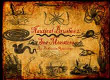 航海神话与大海怪、乌贼、恶龙等元素PS神话笔刷