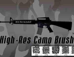 5种仿真军事迷彩伪装纹理PS笔刷素材