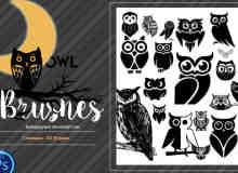 卡哇伊卡通猫头鹰图形PS笔刷素材下载