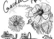 7个漂亮的手绘线条花朵、花艺家具、花篮、普通图形PS笔刷素材